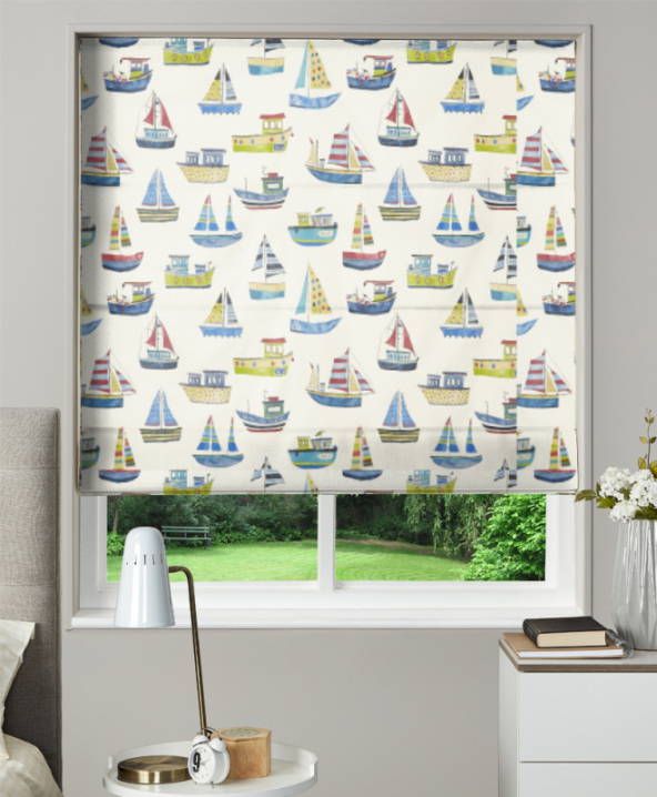 Made To Measure Roman Blind Boat Club Cobalt 1