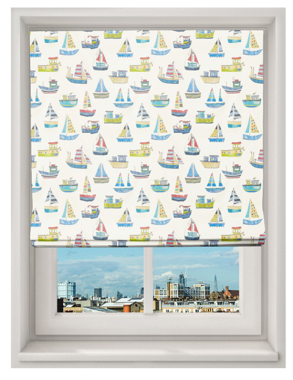 Made To Measure Roman Blind Boat Club Cobalt
