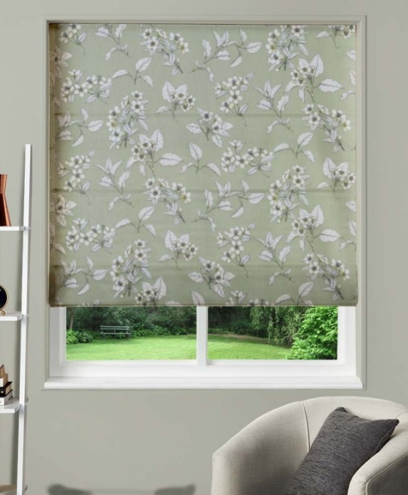 Made To Measure Roman Blind Cherry Blossom Kale 1