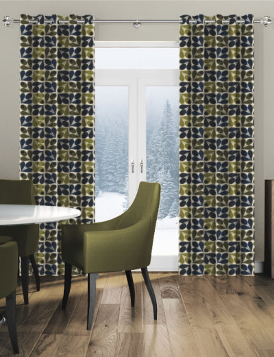 Made To Measure Curtains Slub Cotton Acorn Cup Dark Marine