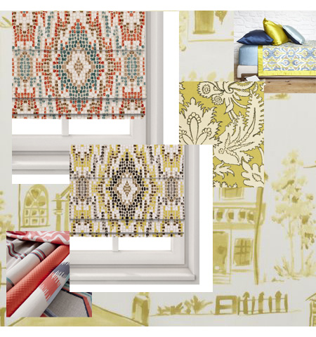 Yellow Oramge gold Roman Blinds